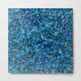 Blue Twinkling Fairy Lights Metal Print