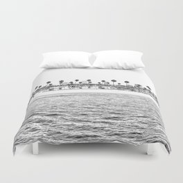 Vintage Newport Beach Print {4 of 4} | Photography Ocean Palm Trees B&W Tropical Summer Sky Duvet Cover