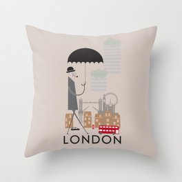 London - In the City - Retro Travel Poster Design Throw Pillow