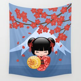 Japanese Red Sakura Kokeshi Doll on Blue Wall Tapestry