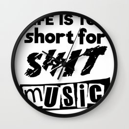 """""""Life is Too Short"""" inspired by The Ramones, The Stooges, The Clash & The Sex Pistols Wall Clock"""