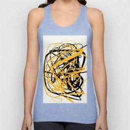 Zen abstract art in yellow and black Unisex Tank Top