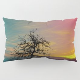 Old tree and colorful sundown panorama | landscape photography Pillow Sham