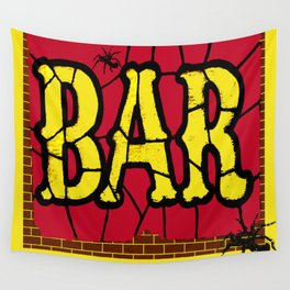 BAR AND SPIDERS VINTAGE SIGN Wall Tapestry