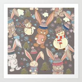 6)Christmas cute illustration with bunny and snowmen. Winter design illustration Art Print