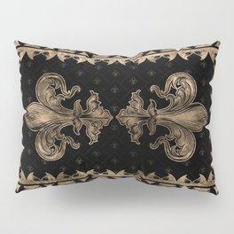Fleur-de-lis - Black and Gold #1 Pillow Sham