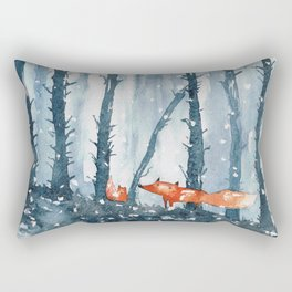 Foxes in forest Rectangular Pillow
