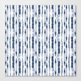 Shibori Stripes 2 Indigo Blue Canvas Print