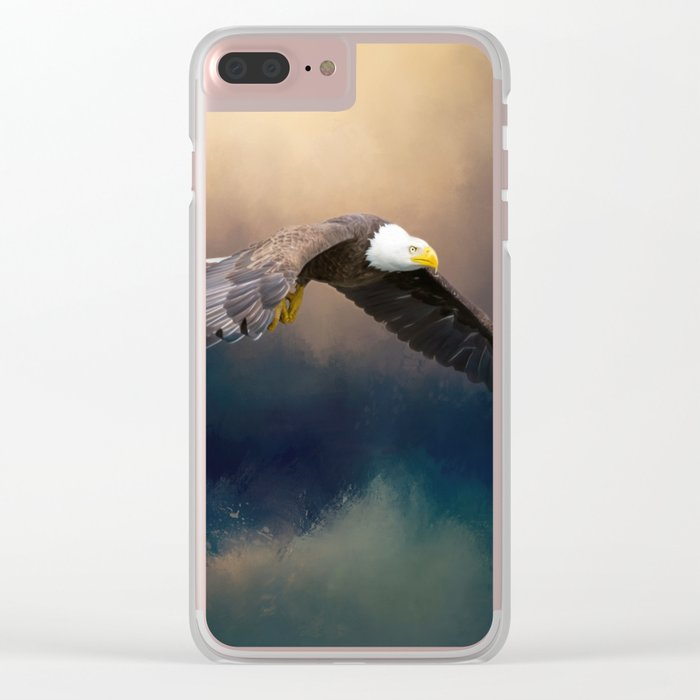 Painting flying american bald eagle Clear iPhone Case
