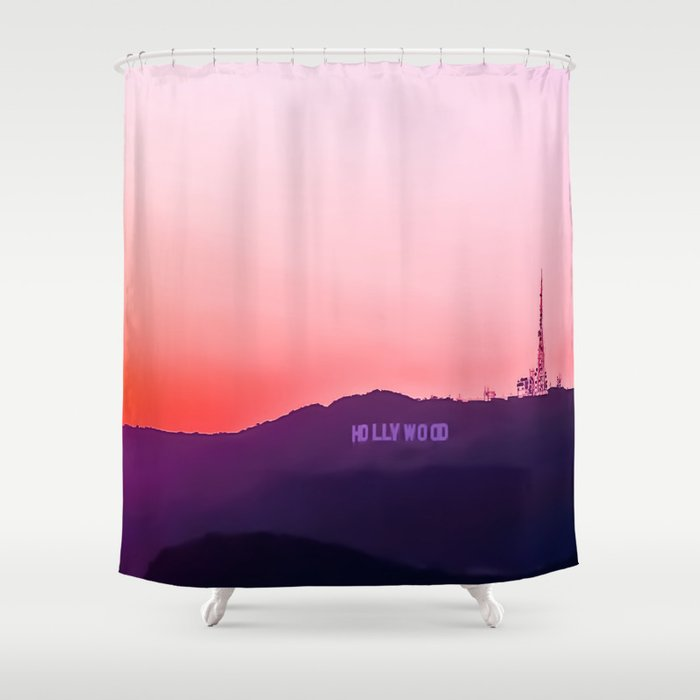 Hollywood sign with summer sunset sky Shower Curtain