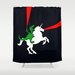 Dinosaur Riding Unicorn (With Lasers) Shower Curtain
