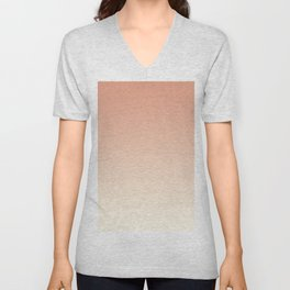 Pratt & Lambert's Color of the Year 2019 Earthen Trail Pink 4-26 and Dover White 33-6 Ombre Gradient Unisex V-Neck