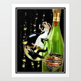 Vintage Domaine Ste. Brut Michelle Champagne Advertisement Poster Art Print