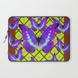 Migrating Purple Butterflies  on  Coffee Brown & Lime Color Pattern Laptop Sleeve
