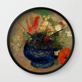 "Odilon Redon ""Flowers in a Blue Cup (Fleurs dans une coupe bleue)"" Wall Clock"