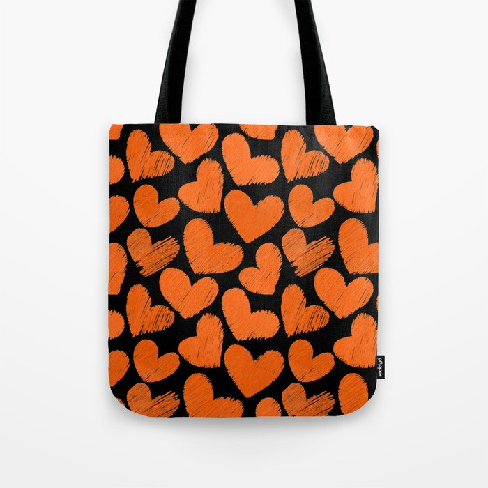 Sketchy hearts in orange and black tote bag by Colorshop
