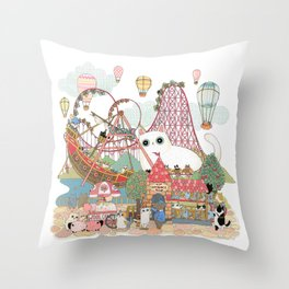 the Day of the rollercoaster Throw Pillow