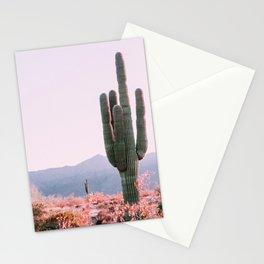 Pink Vintage Nature Photo of Cactus on Desert Hike - Phoenix Arizona USA Stationery Cards