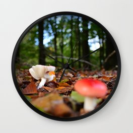 Autumn Mushrooms in the Forest Wall Clock