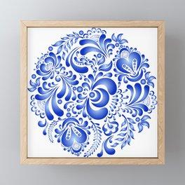 Gzhel pattern Framed Mini Art Print