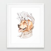 golden retriever Framed Art Prints featuring Golden Retriever by Petty Portraits