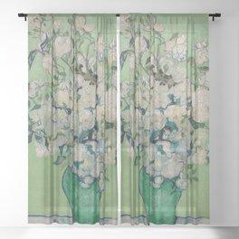 "Vincent Van Gogh ""Pink Roses in a Vase"" Sheer Curtain"