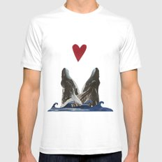 Whales in Love MEDIUM Mens Fitted Tee White