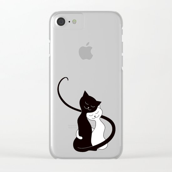 White And Black Cats In Love (red) Clear iPhone Case