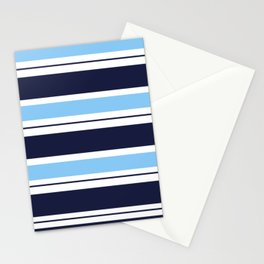 Blue Navy and Turquoise Stripes Stationery Cards
