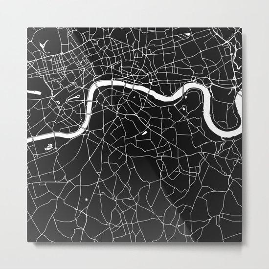 London Black on White Street Map Metal Print
