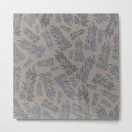 Grey green blue muted leaf pattern Metal Print