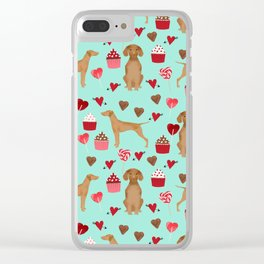 Vizsla valentines day dog breed gifts for dog lover unique dog pet portraits animal art Clear iPhone Case