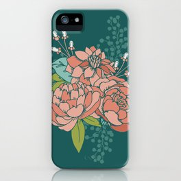 Moody Florals in Teal iPhone Case