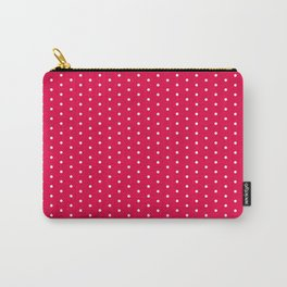 White dots on bright pink background Carry-All Pouch