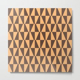 Mid Century Modern Geometric 315 Brown and Orange Metal Print