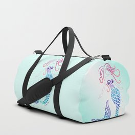 Tribal Mermaid with Ombre Turquoise Background Duffle Bag