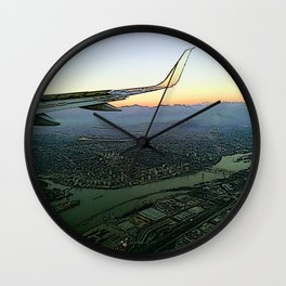 Landing together with the sun Wall Clock