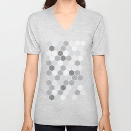 Texture hexagons - Shades of Grey Unisex V-Neck