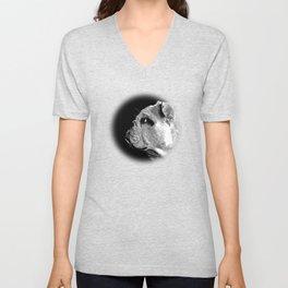 english bulldog dog vector art black white Unisex V-Neck
