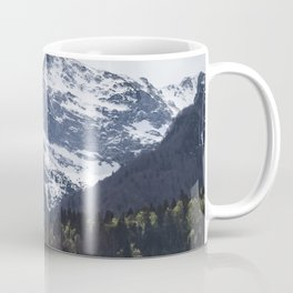Winter and Spring - green trees and snowy mountains Coffee Mug