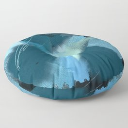 Midnight Blossom: an abstract, mixed media piece in dark and light blue / greens by Alyssa Hamilton Floor Pillow