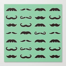 Vintage brown mustaches on seafoam green background Canvas Print