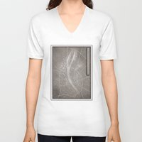 budapest V-neck T-shirts featuring papercut - Budapest by Colin Kiss