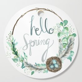 Hello Spring Eucalyptus Wreath with Nest Cutting Board