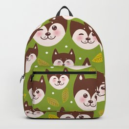 seamless pattern funny brown husky dog and leaves, Kawaii face with large eyes and pink cheeks Backpack