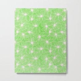 02 White Flowers on Green Metal Print