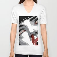 mia wallace V-neck T-shirts featuring There goes mrs. Mia Wallace by The Headless Fish