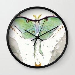 Watercolor Luna Moth Wall Clock