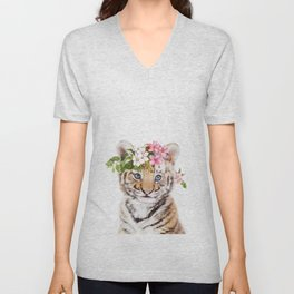 Tiger Cub with Flower Crown Unisex V-Neck