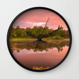 Pink Twilight Marsh Wall Clock